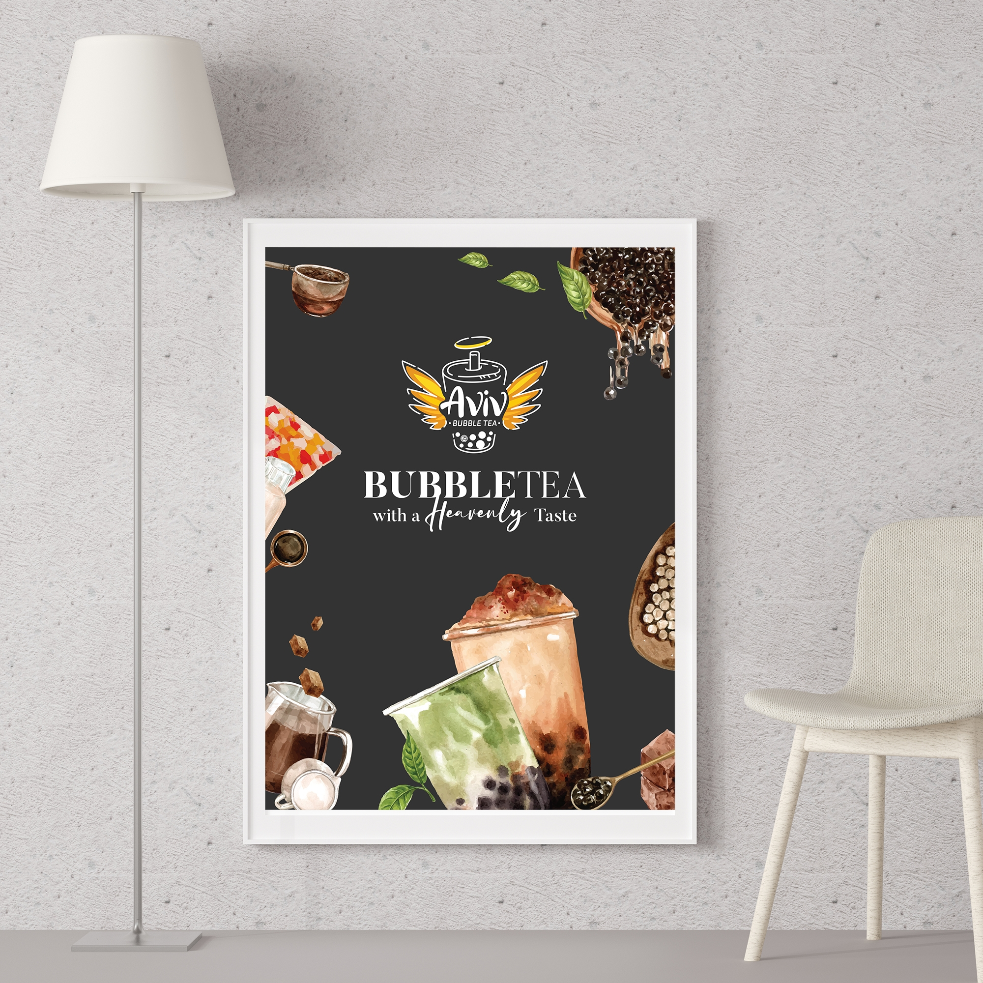 Logo and wall poster design done for a bubble tea cafe