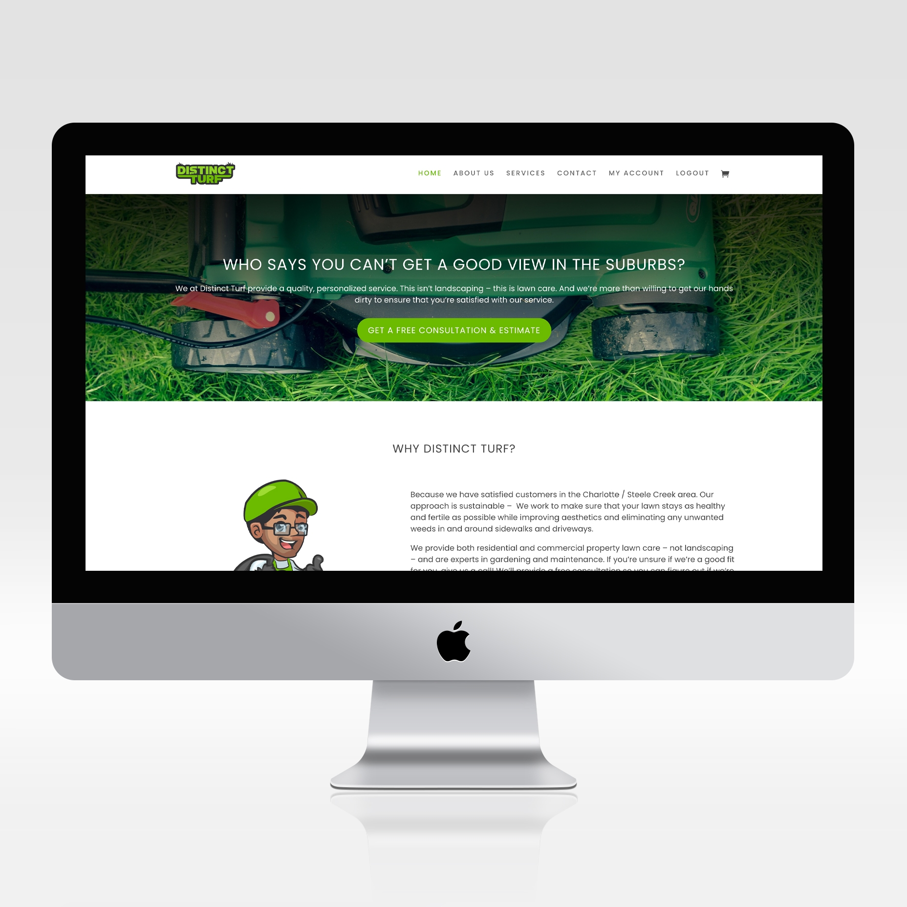 Logo mascot and web design done for a lawn care business