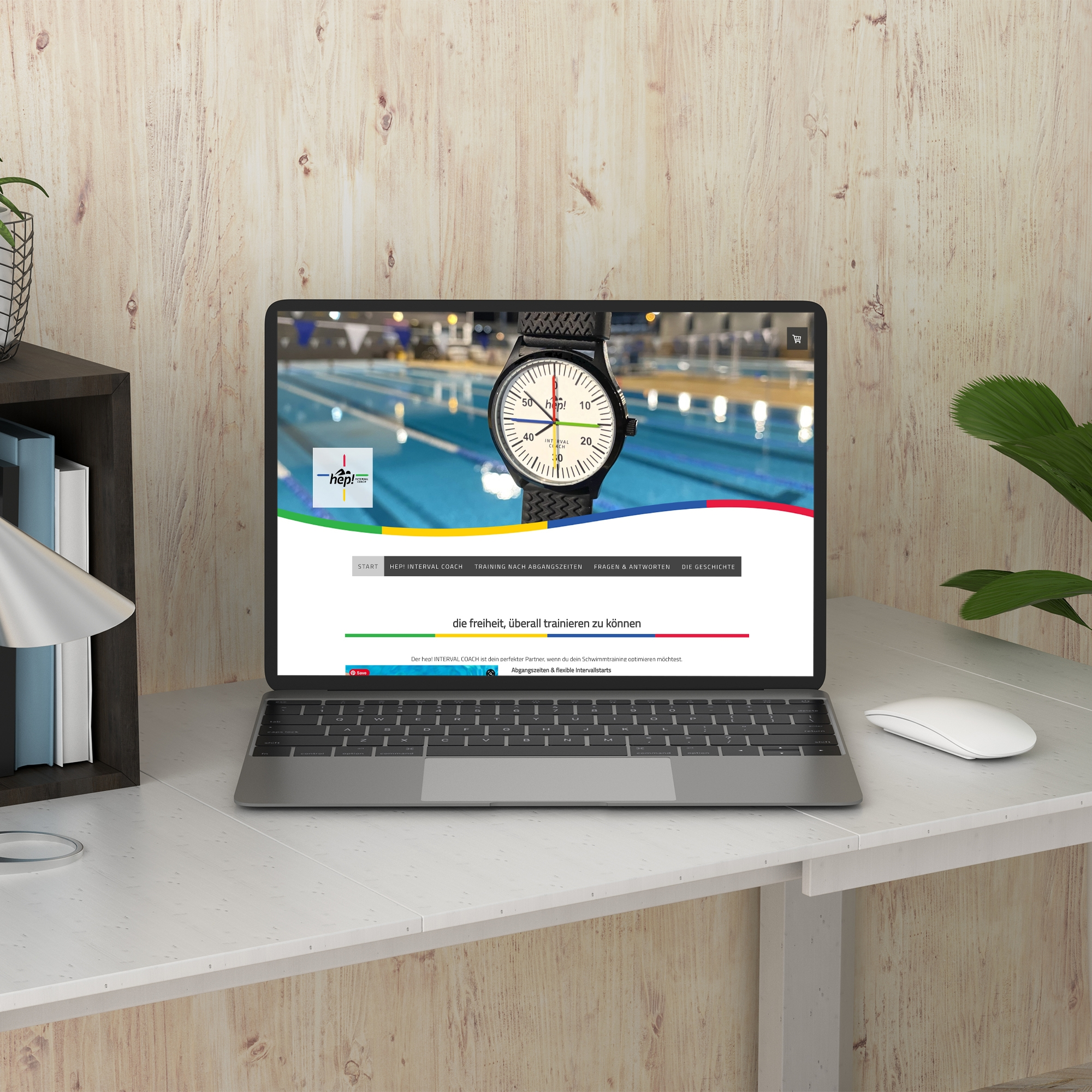 Web design done for a swimming watch brand
