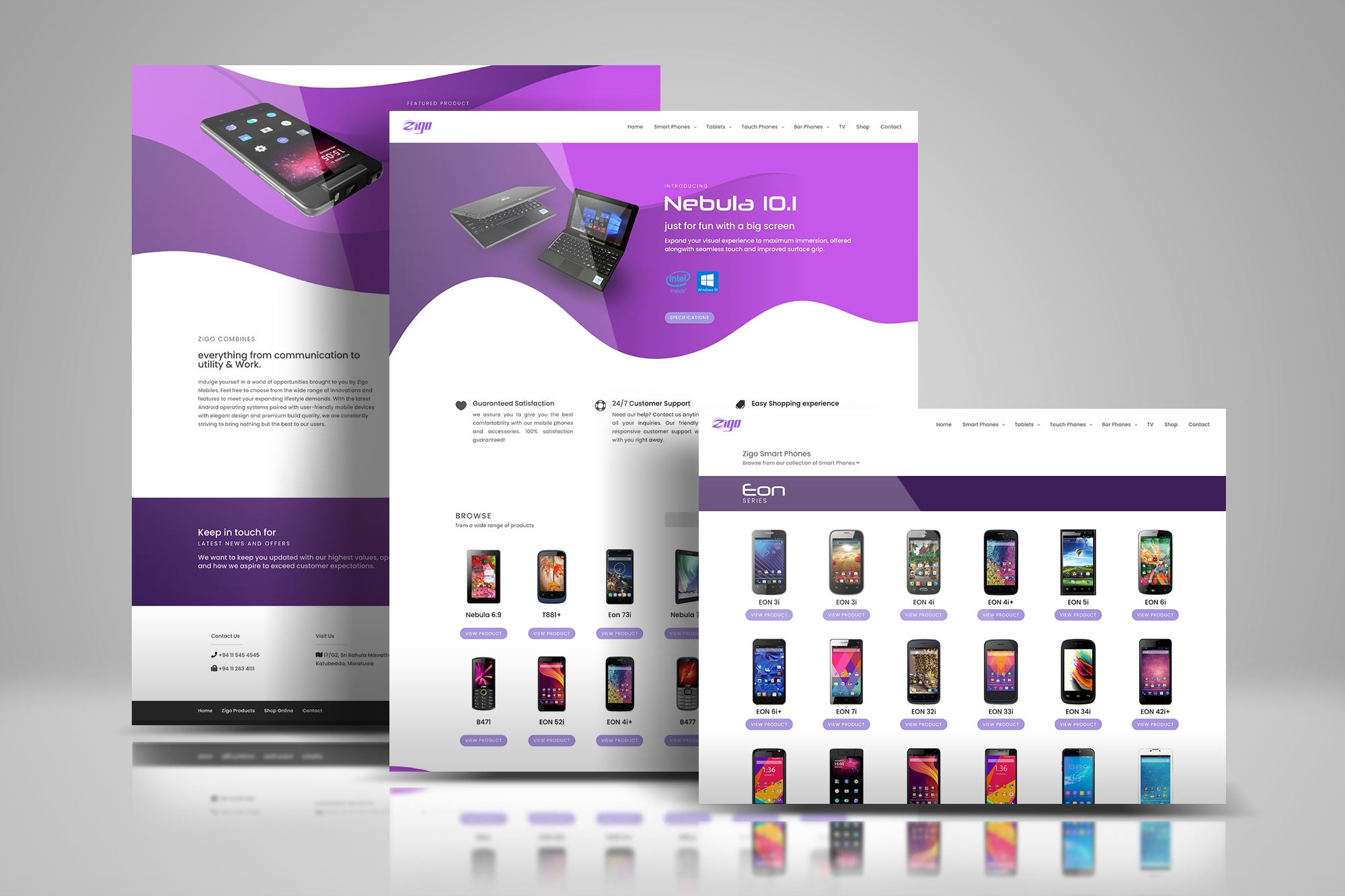 Web design done for a mobile brand